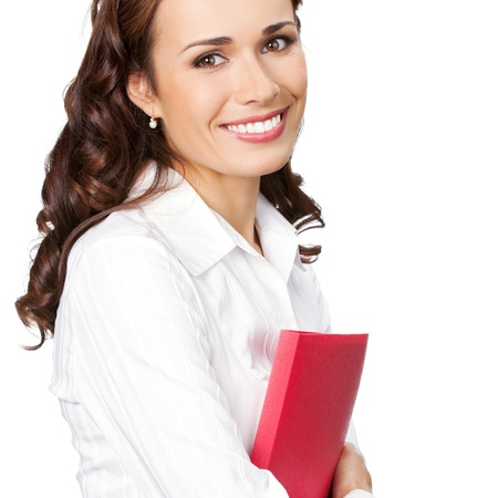 Portrait of young happy smiling businesswoman with red folder, isolated over white background photo