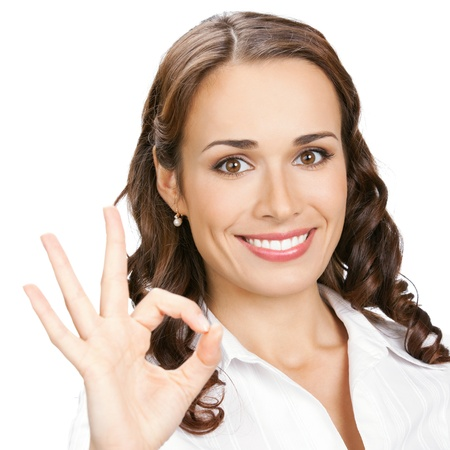 Happy smiling business woman with okay gesture, isolated over white background Stock Photo