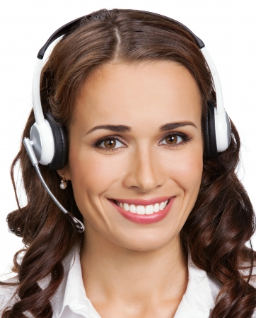 customer service phone: Portrait of happy smiling cheerful young support phone operator in headset with laptop, isolated on white background