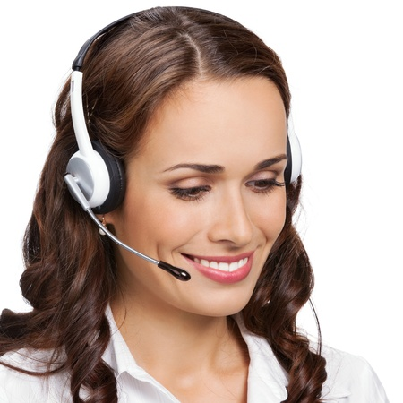 operator: Portrait of happy smiling cheerful young support phone operator in headset with laptop, isolated on white background