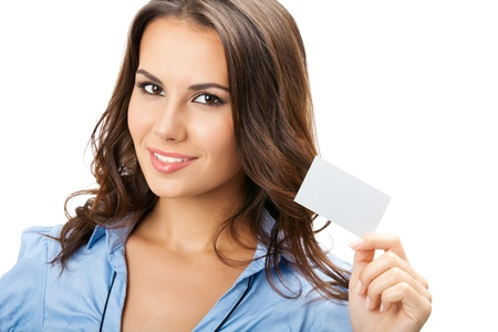 Happy smiling business woman showing blank business card, isolated over white backround Stock Photo - 17154564