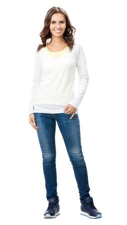 1 woman only: Full body portrait of happy smiling beautiful young woman, isolated over white background