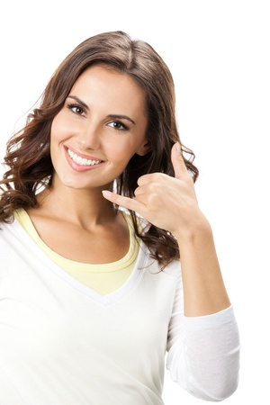 gesture: Young happy smiling beautiful woman showing call me gesture, isolated over white background