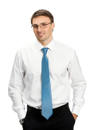 Portrait of happy smiling young business man in glasses, isolated over white background Stock Photo - 17154526