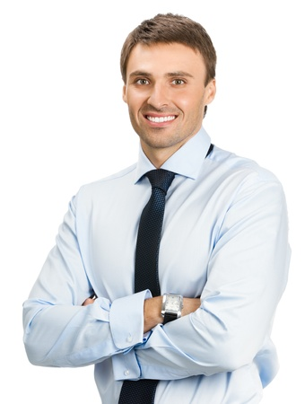 Portrait of happy smiling young business man, isolated over white background Stock Photo - 17154524