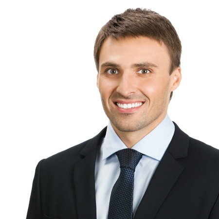 personal assistant: Happy smiling young businessman, isolated over white background
