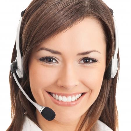 recepcionista: Soporte operador de telefon�a en auriculares, aislados en blanco