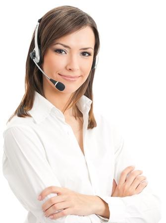 recepcionista: Retrato de operador de telefon?a apoyo alegre sonriente feliz en el auricular, aislada sobre fondo blanco