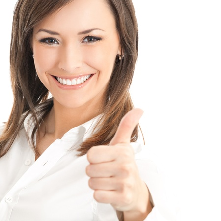 arms up: Happy smiling businesswoman with thumbs up gesture, isolated on white background