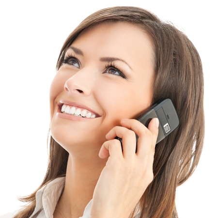 Happy smiling successful businesswoman with cell phone, isolated on white background photo