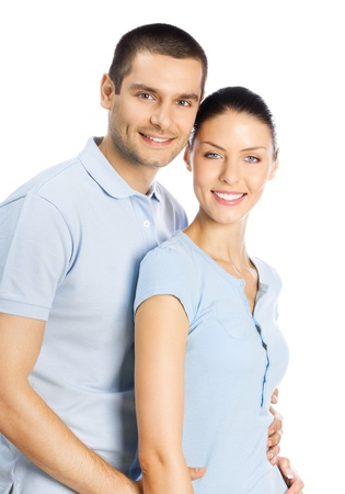 out of date: Portrait of young happy smiling attractive couple, isolated over white background