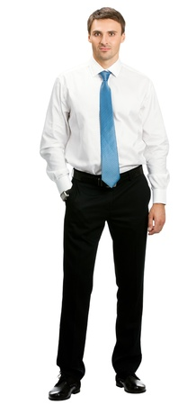 only man: Full body portrait of young happy smiling cheerful business man, over white background