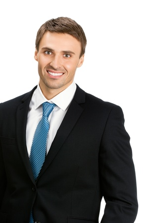Portrait of young happy smiling business man, isolated over white background photo