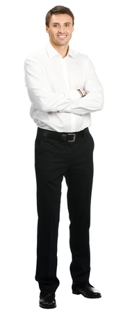 Full body portrait of young happy smiling cheerful business man, over white background photo