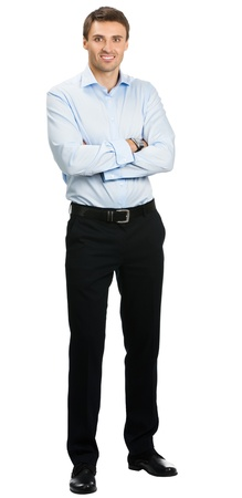 white background: Full body portrait of young happy smiling cheerful business man, over white background