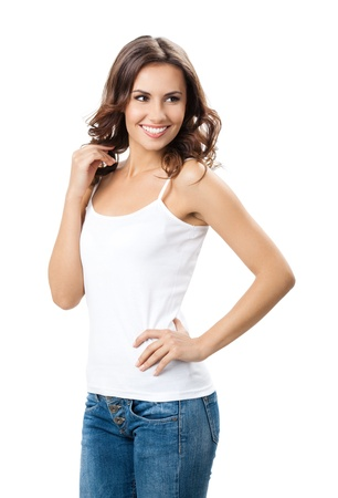 young women only: Portrait of happy smiling young beautiful woman, isolated over white background