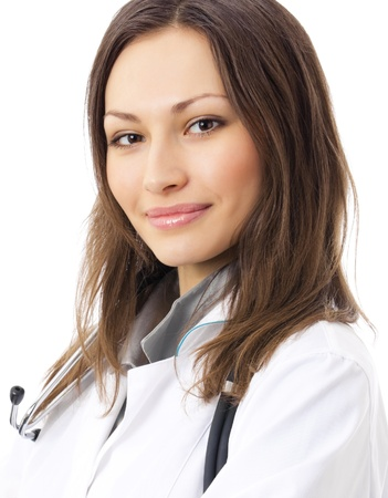 Portrait of happy smiling young female doctor, isolated over white background photo