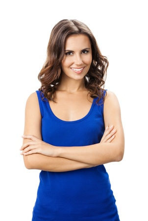 1 young woman only: Full body of young cheerful smiling woman, isolated over white background