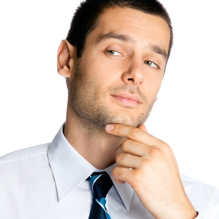 man face close up: Portrait of thinking businessman, isolated over white background Stock Photo