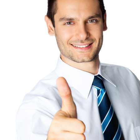 man thumbs up: Happy smiling cheerful business man with thumbs up gesture, isolated over white background Stock Photo