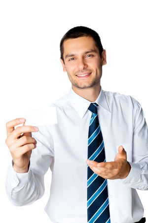 Happy smiling young business man showing blank business, plastic, credit card or signboard, isolated over white background Stock Photo - 17767488