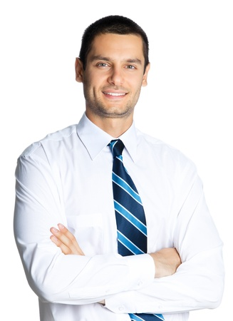 only men: Portrait of young happy smiling business man, isolated over white background Stock Photo