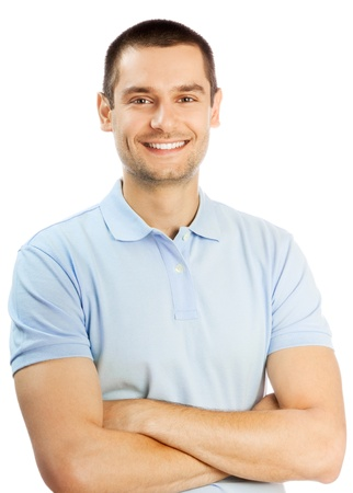 Fröhliche junge Mann, isoliert auf weißem Hintergrund