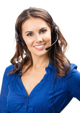 Portrait of happy smiling cheerful young support phone operator in headset, isolated on white background Stock Photo