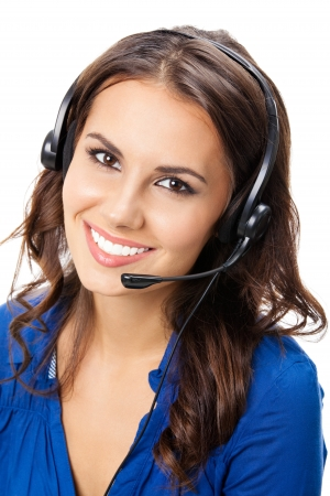 Portrait of happy smiling cheerful young support phone operator in headset, isolated on white background photo
