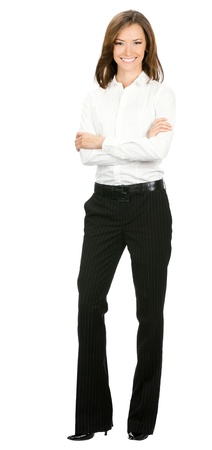 full body: Full body portrait of happy smiling young cheerful business woman, isolated over white background Stock Photo