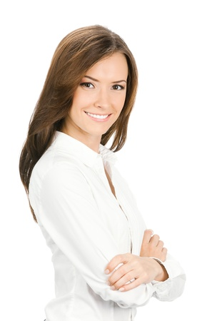 Portrait of happy smiling young cheerful business woman, isolated over white background Stock Photo - 17792160