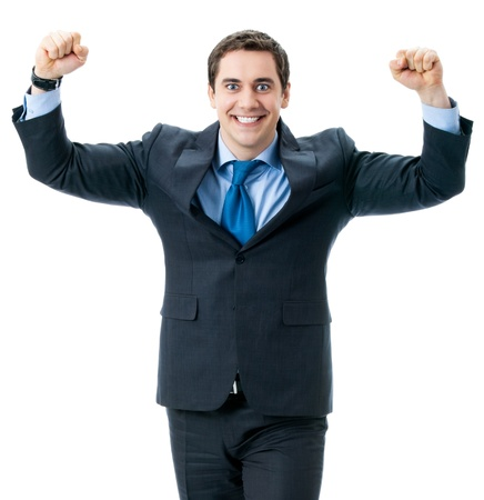 Very happy successful gesturing business man, isolated over white background photo