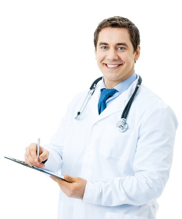 Happy smiling doctor writing on clipboard, isolated on white background photo