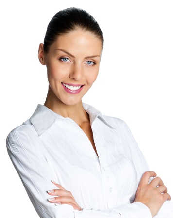 Cheerful smiling business woman, isolated over white background photo