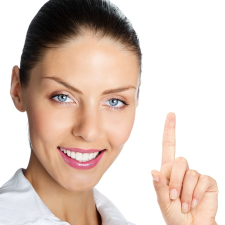 forefinger: Cheerful business woman showing blank area for sign or copyspase, isolated over white background