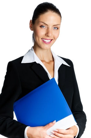 Cheerful smiling young business woman with blue folder, isolated over white background Stock Photo - 17903314