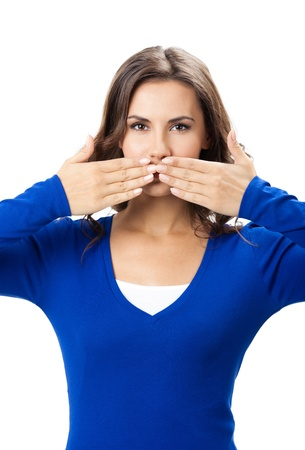 hand on mouth: Young woman covering with hands her mouth, isolated over white background Stock Photo