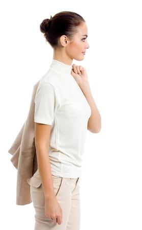 Portrait d'une femme d'affaires heureux souriant, isolé sur fond blanc