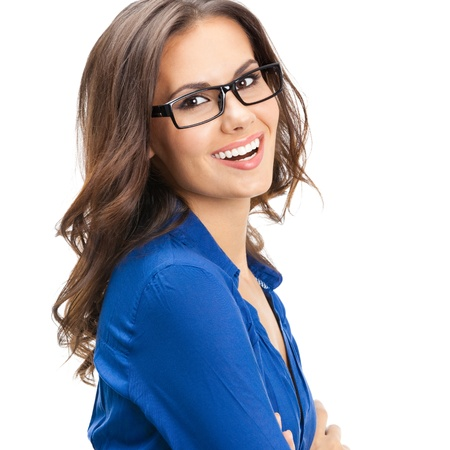 whitebackground: Portrait of happy smiling young business woman in glasses, isolated over white background