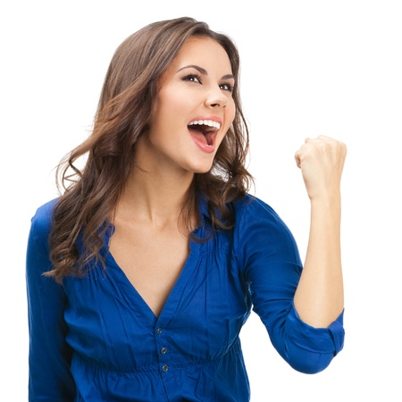 happiness or success: Happy gesturing young cheerful smiling business woman , isolated over white background