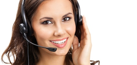 Portrait of happy smiling cheerful beautiful young support phone operator in headset, isolated over white background Stock Photo - 18196015