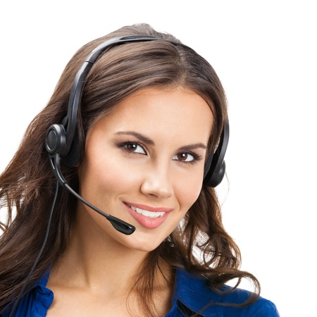 Portrait of happy smiling cheerful beautiful young support phone operator in headset, isolated over white background Stock Photo - 18209177