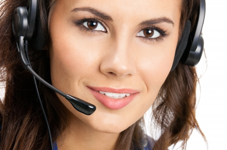 Portrait of happy smiling cheerful beautiful young support phone operator in headset, isolated over white background Stock Photo - 18196024