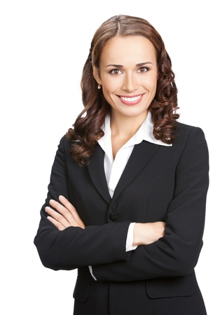 young women only: Portrait of happy smiling business woman, isolated on white background