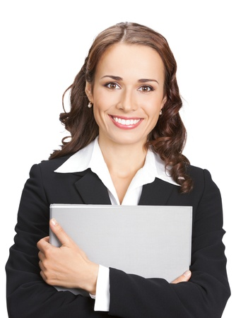 Portrait of happy smiling business woman with grey folder, isolated on white background photo