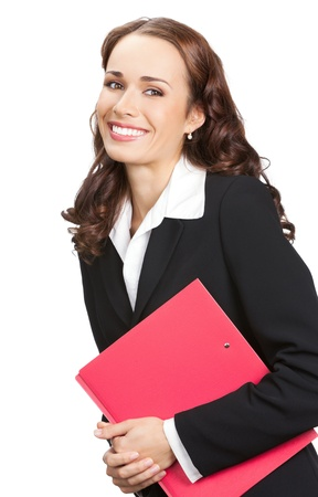 Portrait of happy smiling business woman with red folder, isolated on white background photo
