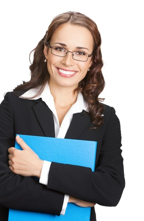 Portrait of happy smiling business woman in glasses with blue folder, isolated on white background photo