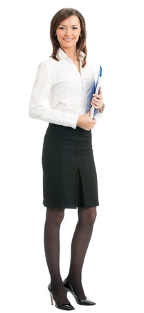 Full body portrait of happy smiling business woman with blue folder, isolated on white background Stock Photo - 18658612