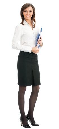 Portrait complet du corps d'une femme d'affaires heureux souriant avec dossier bleu, isolé sur fond blanc Banque d'images
