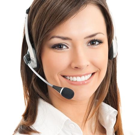 recepcionista: Retrato de feliz sonriente operador de teléfono alegre apoyo en auriculares, aislados en fondo blanco